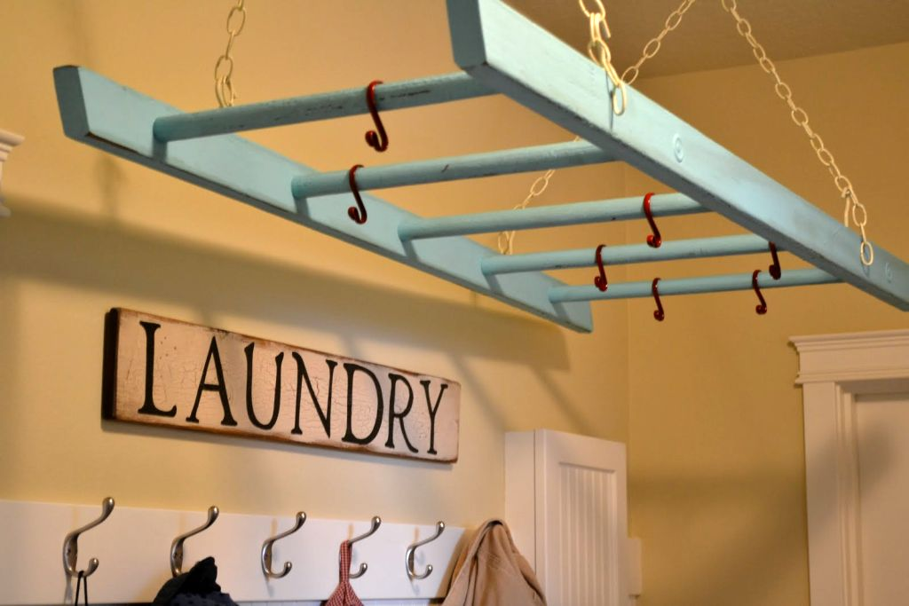hanging-laundry-room-clothes-hanger-racks-designs-using-old-stairs
